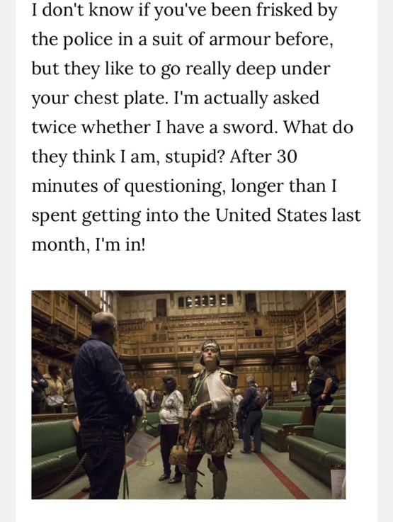 It is illegal to wear a suit of armour in UK Parliament - Trending