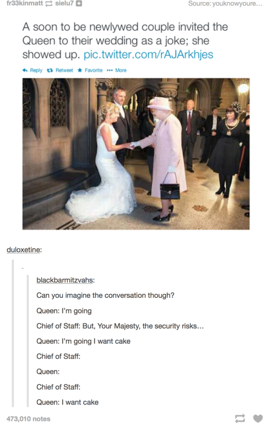 If I ever get married, I'm so doing this. She'll probably be long dead by then, but zombie Queen might still show up.