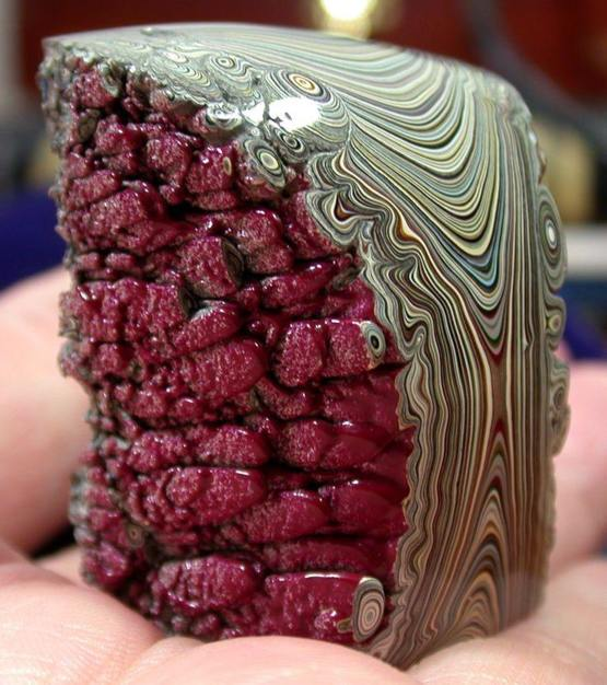 """Detroit agate created by years of spray paint run off"""