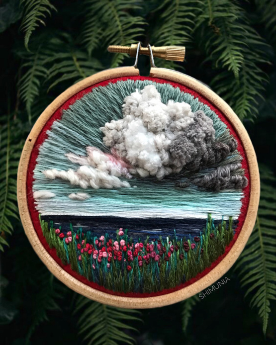 russian artist vera shimunia continues her masterful series of embroidered landscapes.