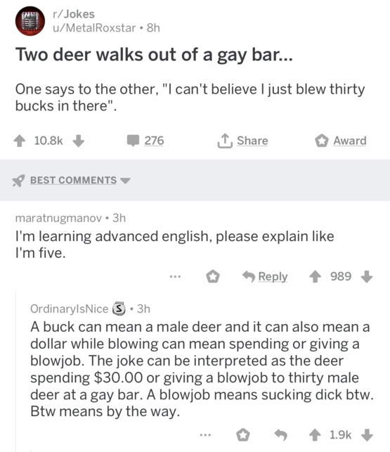Learning English by jokes on Reddit