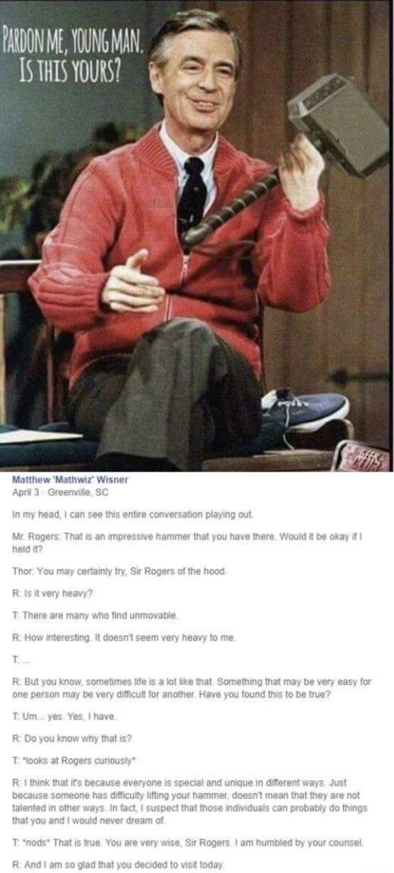In honor of Mr. Rogers' birthday, I am reposting one of my favorite images.