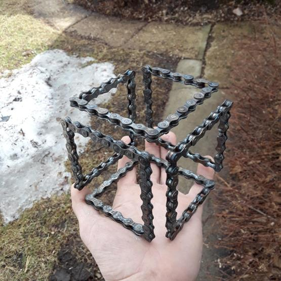 Infinity cube made from bicycle chain