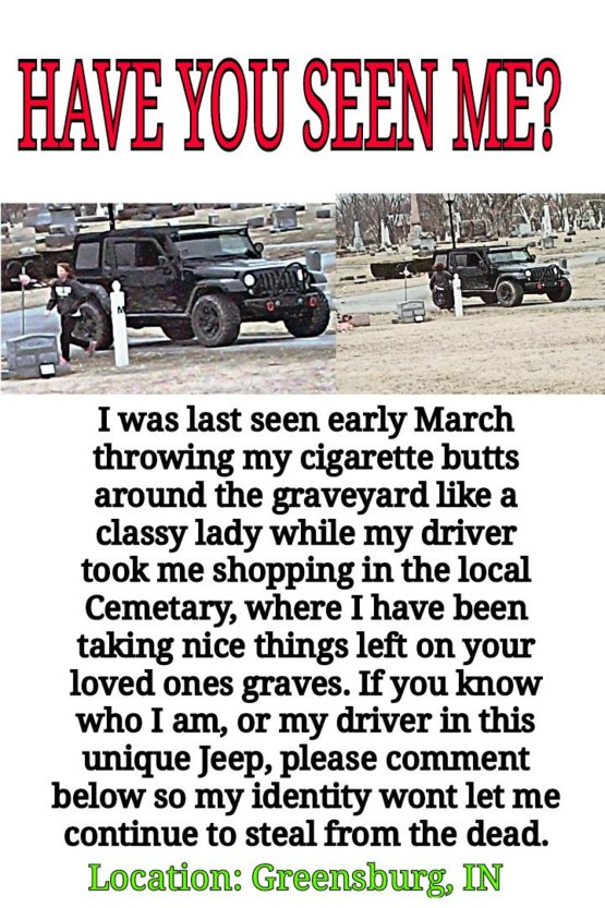 Indiana Graveyard thief