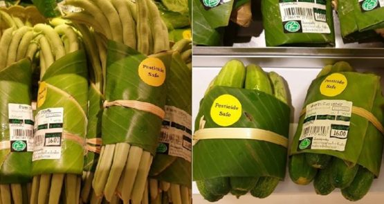 Supermarkets in Asia are now using bananas leaves instead of plastic packaging.