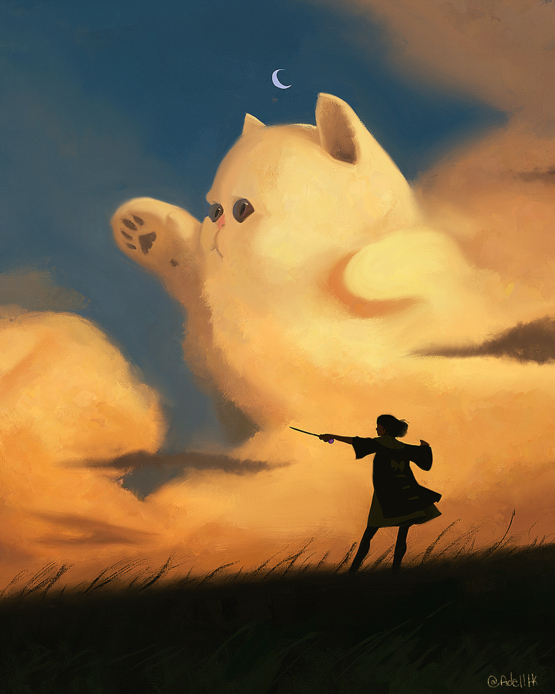 I painted a wizard turning a cloud into a cat.