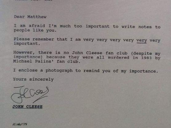 John Cleese writes to a 14-year-old fan