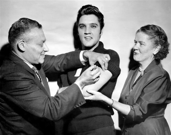To Convince Us Citizens That the Polio Vaccine Was Safe, Elvis Is Administered the Vaccine on National Television, 28/10/1956 - Colour by me