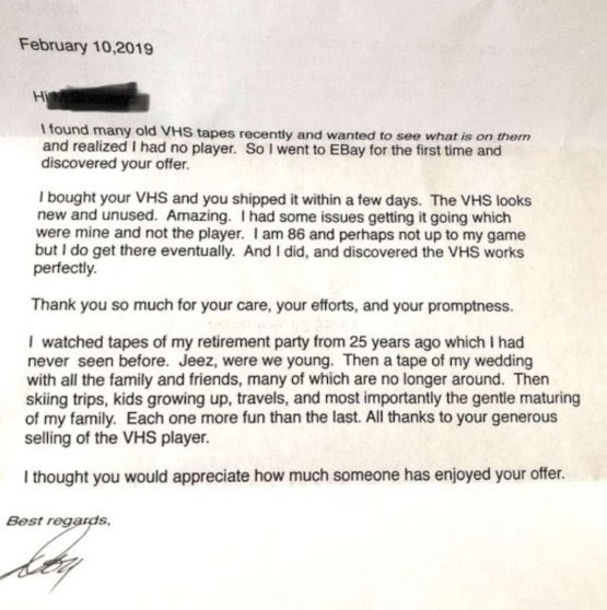 Guy sells VCR on eBay. Gets thank you note from buyer.