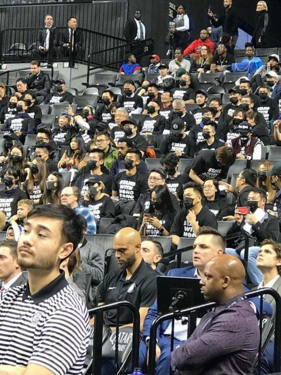 Producer and activist Andrew Duncan bought 300 tickets to tonight's Nets vs Raptors game and is hosting hundreds of Chinese pro democracy activists to protest the NBA.