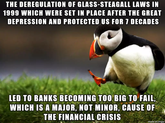 """Post This To The Front Page 1 or Times Yearly: """"A pernicious lie that is going around by big banks is that this was not a big deal."""""""