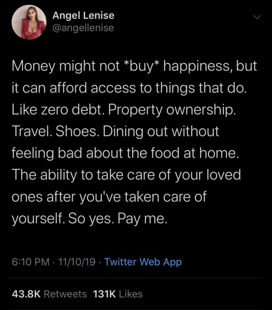 Getting money doesn't make you unhappy