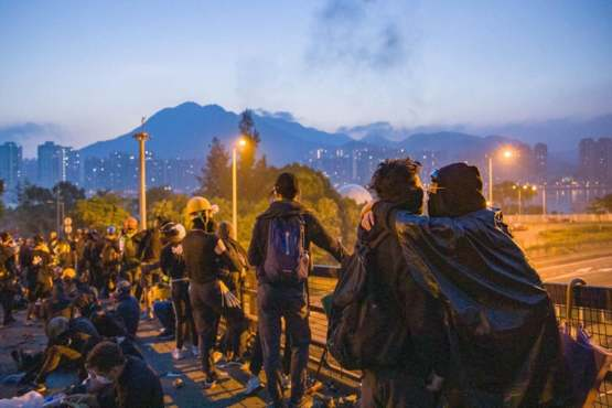 """Students chanted """"Good morning Hong Kong"""" after defending the school (CUHK) overnight."""