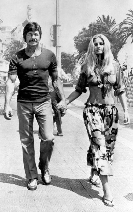 Actor Charles Bronson at 50 with wife Jill Ireland in 1971; dude started life as a coal miner