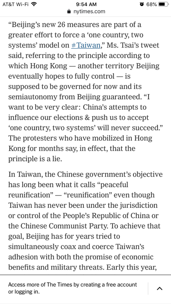 "Taiwan stands up against China/CCP and refuses the ""one system two country"" for continued democracy."
