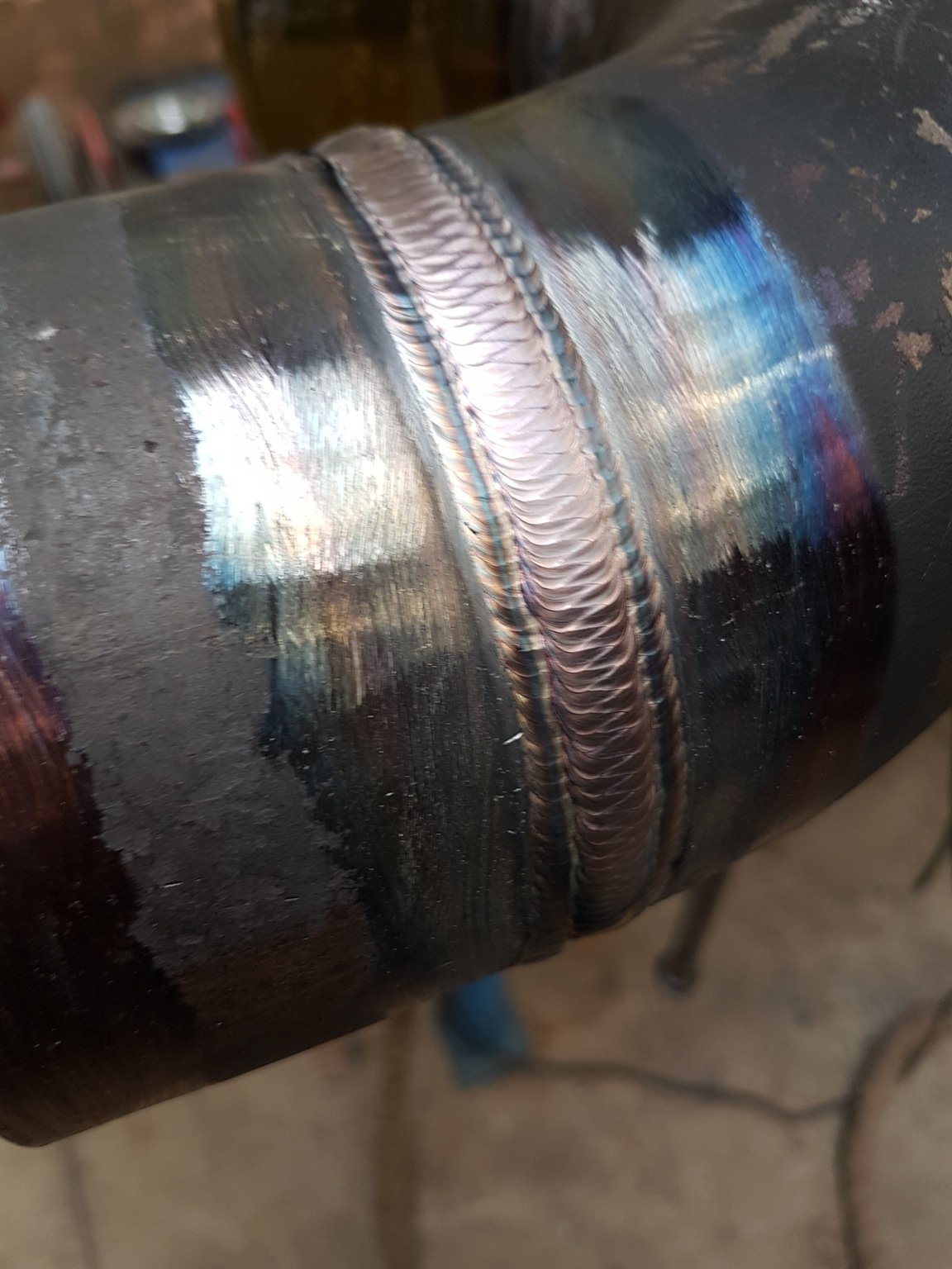 "tig weld i did today on 4"" pipe"