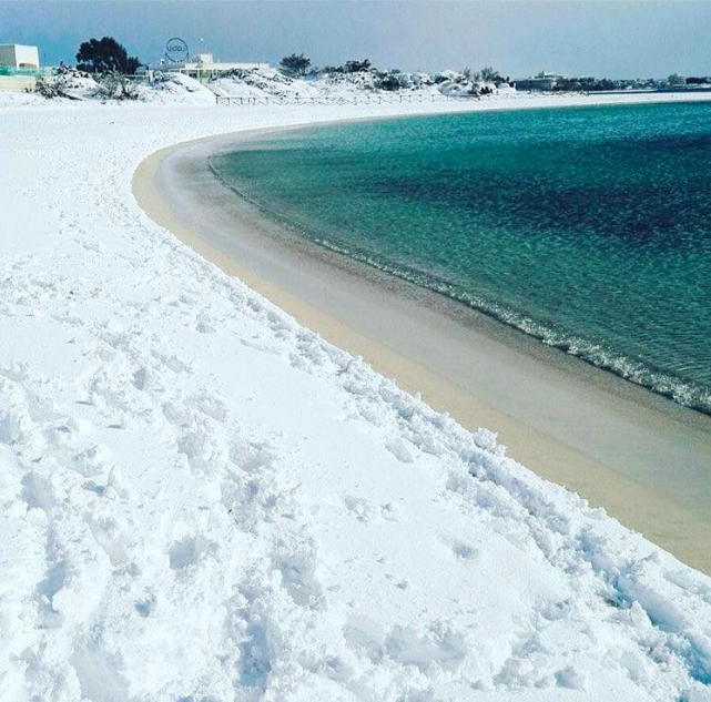 A beach in Southern Italy after recent snowfall