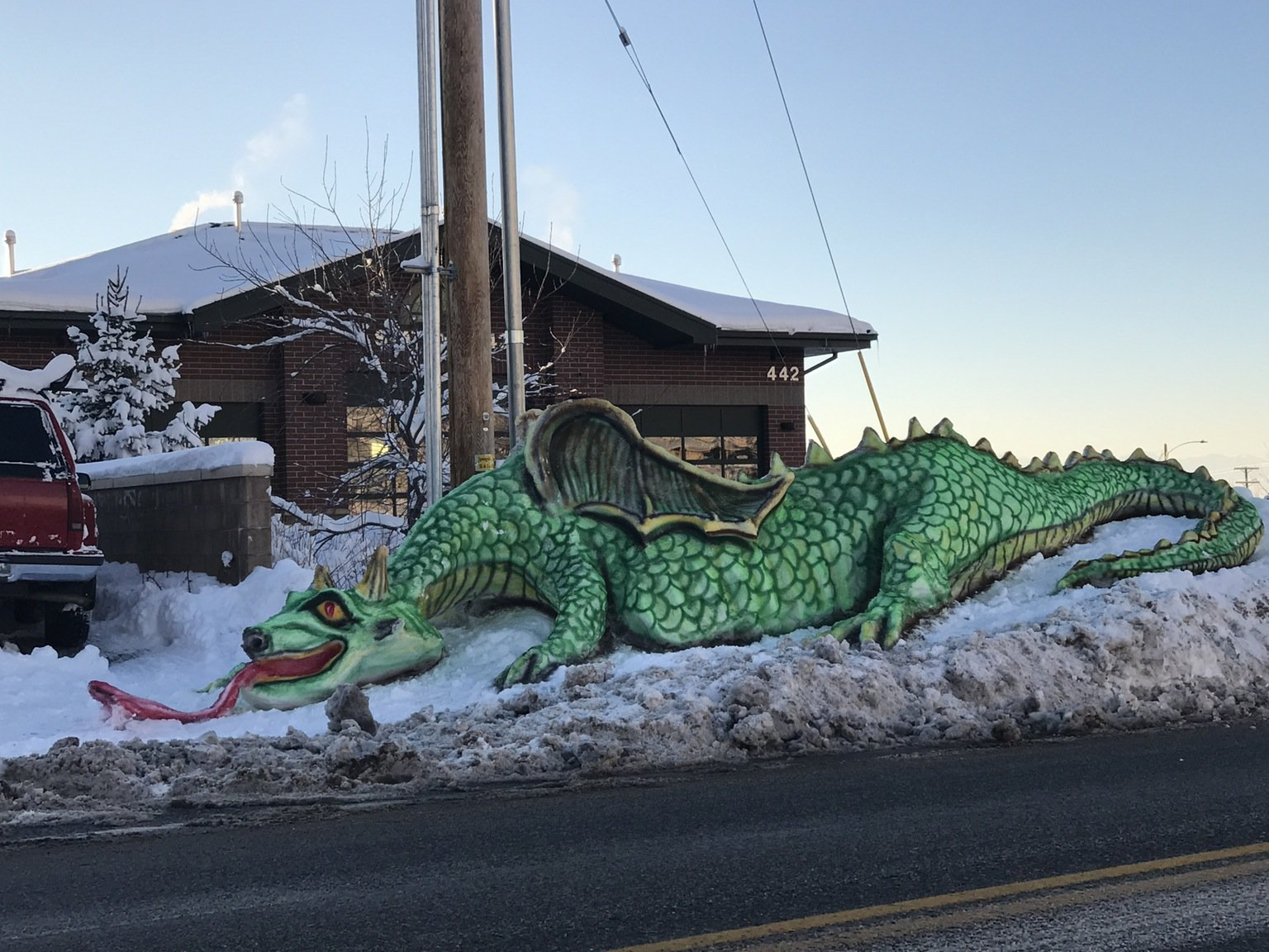 The small town where I commute for work has a guy who builds snow sculptures for all to enjoy as they drive past. He really outdid himself with this most recent storm.