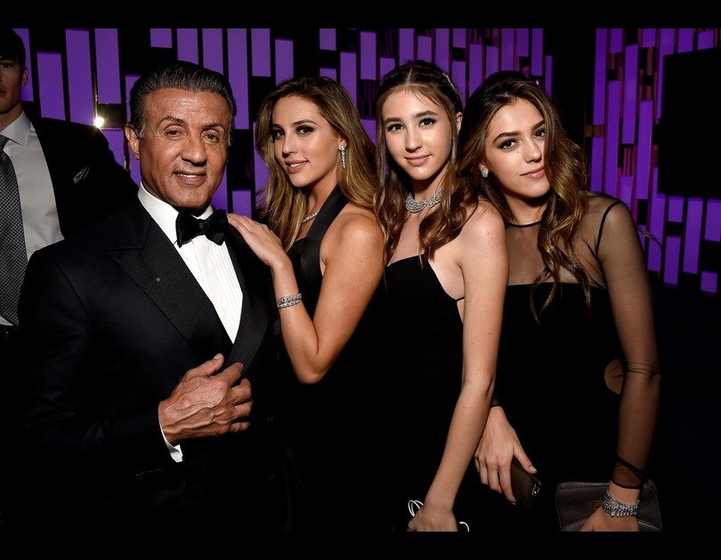 Sly and his 3 daughters last night at the Golden Globes