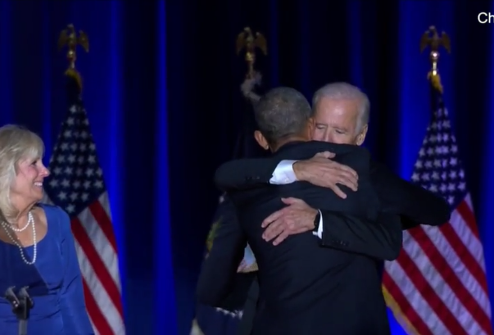 Obama and Biden hug after Obama's farewell address