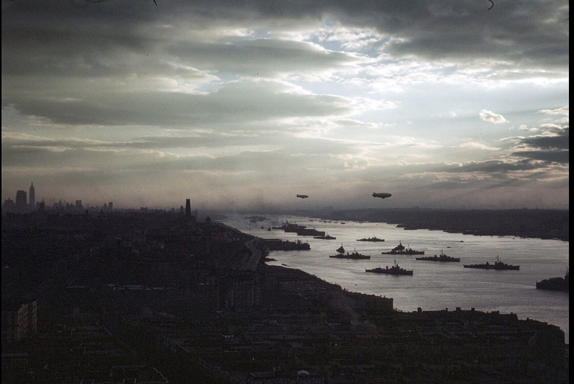 A photo my grandfather took looking south over Manhattan and the Hudson River towards the end of World War 2.