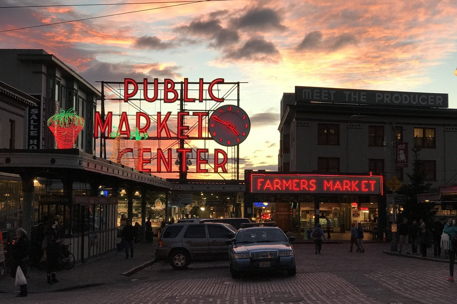 Pike Place Market as the sun sets in Seattle