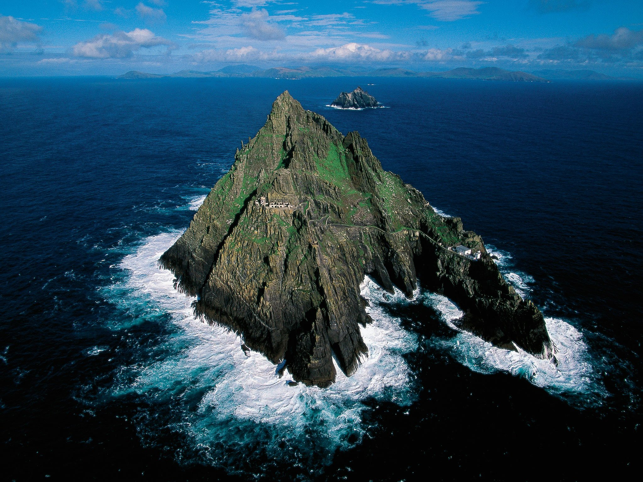 Skellig Michael is 7 miles west of Ireland and is home to a monastery which was in use from the 7th to 12th centuries