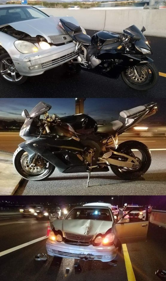 Friend got in an accident, he was extremely lucky and his bike took hardly any damage. The car behind him however....