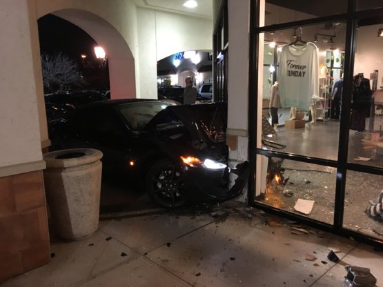 Lady crashed a brand new Maserati into my works building and ditched the car