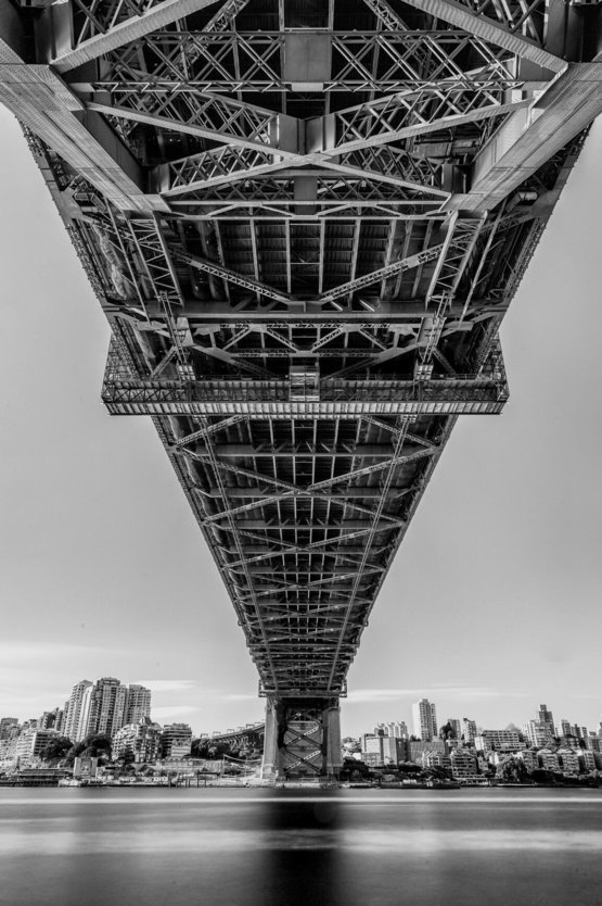 My high contrast B&W really shows the detail under the Sydney Harbour Bridge.