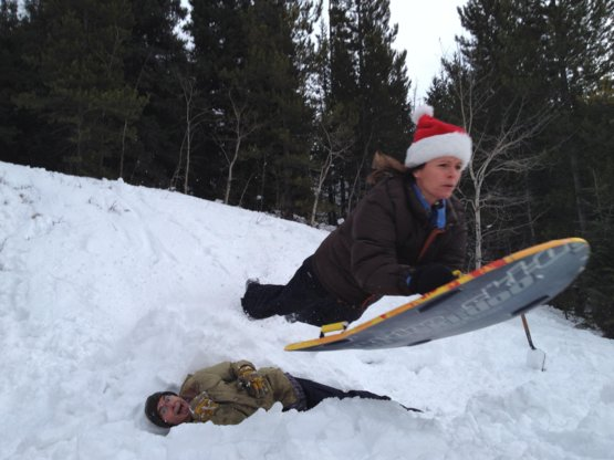 I See Your Daughter Sledding And Raise You My 55 Year Old Mother Dad 58 Jump Builder Is The One Laughing