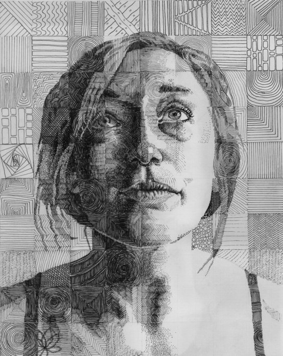 Grid Portrait I did of my girlfriend with each square being rendered