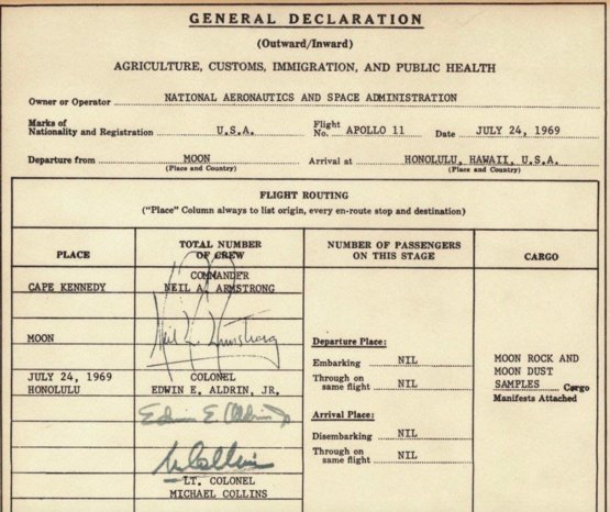Apollo 11 U S  Customs form after the first moon landing in 1969