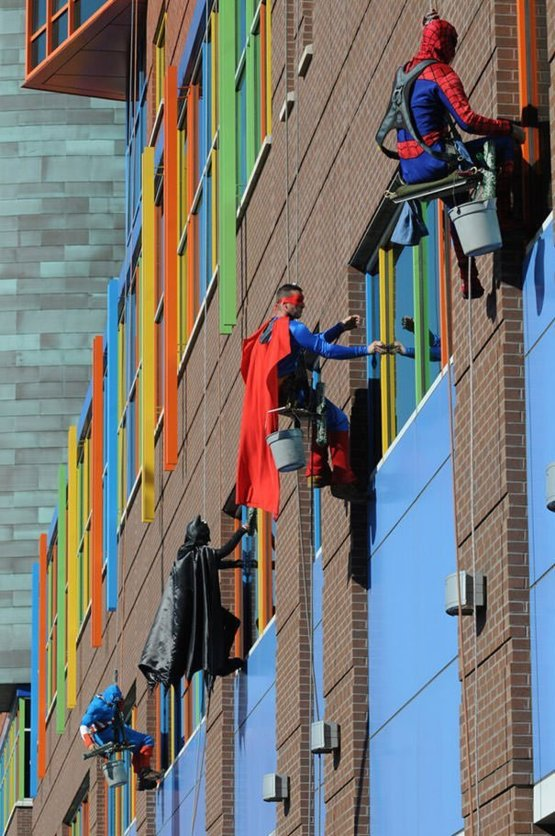 Window washers at a children's hospital.