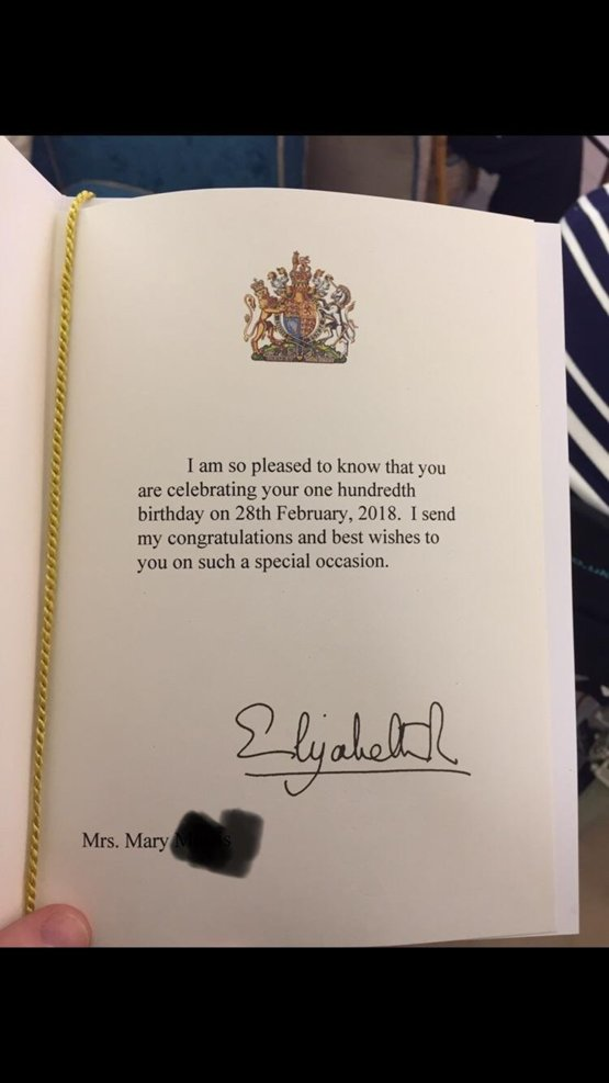 My Grandma Turned 100 Years Old Today Here Is Her Birthday Card From The Queen