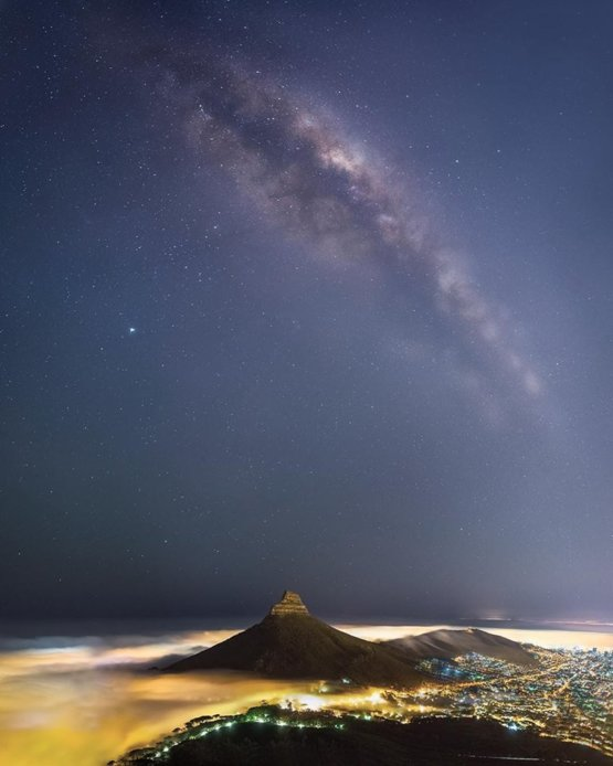 this is a 12 image panorama of the milky way body over the iconic