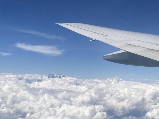 Mount Everest from my plane flying at 31,000 feet