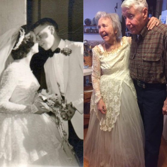 Bride Surprises Grandmother By Wearing Her Wedding Dress: 63 Years Later And My Grandma Can Still Fit Into Her