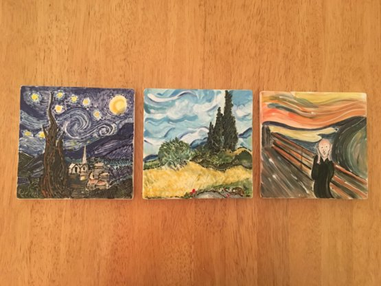 My mum likes to recreate famous paintings on ceramic tiles at a place that has them glazed and fired