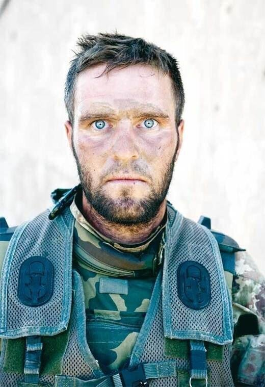 The thousand yard stare- an Italian soldier, his photo taken after three consecutive days of battle in Afghanistan.