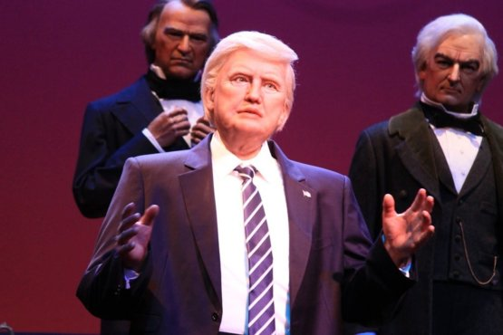 Disney clearly designed a Hillary animatronic first and had to repurpose it for Trump