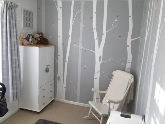 I saw your nursery and thought I'd share my daughters, freehand forest by my husband