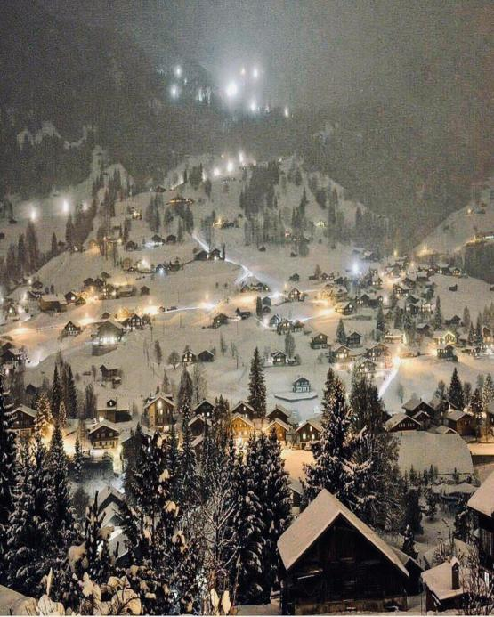 Christmas Decorations In Switzerland: The Ski Town Of Grindelwald, Switzerland. A Real Life