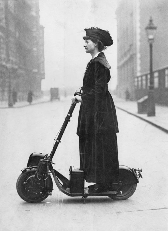 Lady Florence Norman, suffragette, going to work in London, on her
