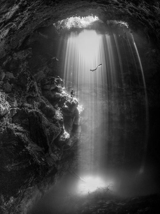An underwater cave near Tulum in Mexico by Karen Smith.