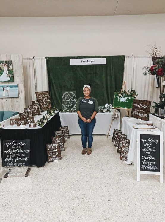 Here's a picture of me at my first bridal show with my hand-lettering business!