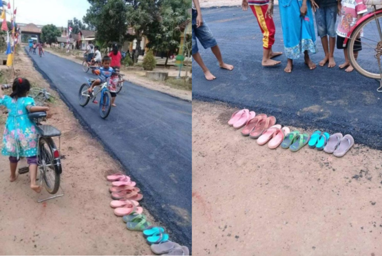 This village in Indonesia has a paved road for the very first time