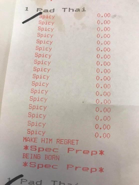 What you get for telling them repeatedly to make sure it's extra spicy ????????????
