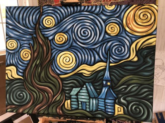 I made a version of starry night today