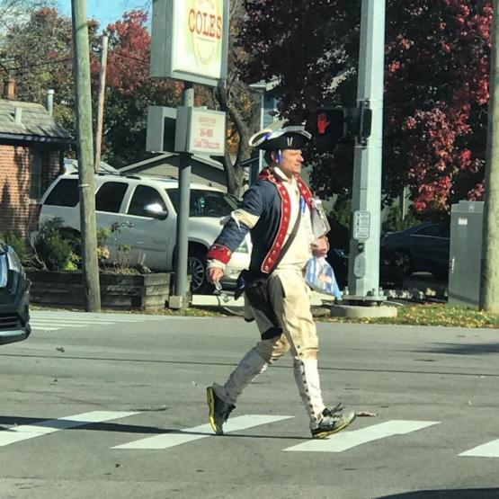 Steve Zahn walking around my neighborhood today campaigning